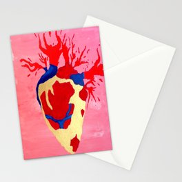 Cool Golden Heart Original Painting On Canvas Stationery Cards