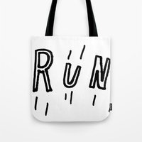 drunk Tote Bags featuring DRUNK by Timothy Goodman