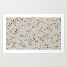 vintage floral vines - spring colors Art Print