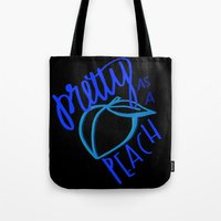 sayings Tote Bags featuring Southern Sayings- Pretty as a Peach by jcervantez design