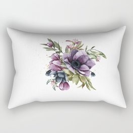 Violet Peony Bud Floral Bouquet  Rectangular Pillow
