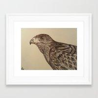 hawk Framed Art Prints featuring Hawk by Leslie Creveling