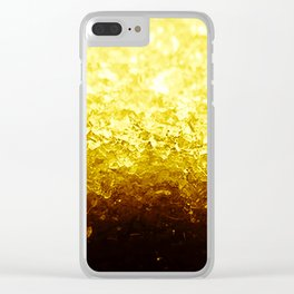 Golden Yellow Ombre Crystals Clear iPhone Case