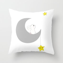 moon bunny Throw Pillow