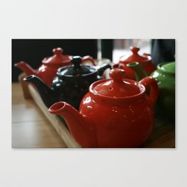 Teapots All in a Row Canvas Print