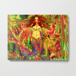Red mermaid art  nude ladykashmir Metal Print