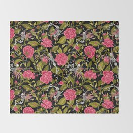 Death of Summer (black and rose) Throw Blanket