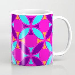 Geometric Floral Circles Vibrant Color Challenge In Bold Purple Pink Orange & Blue Coffee Mug