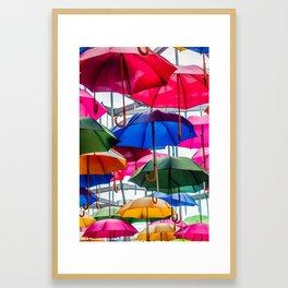 Colorful Umbrellas Framed Art Print