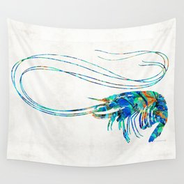 Blue Shrimp Art by Sharon Cummings Wall Tapestry