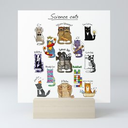 Science cats. History of great discoveries. Schrödinger cat, Einstein. Physics, chemistry etc Mini Art Print