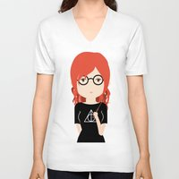 harry potter V-neck T-shirts featuring Fan Girl Harry Potter by Creo tu mundo