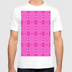 Bubblegum Pink Flowers MEDIUM Mens Fitted Tee White