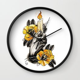 Hand holding CANDLE - tattoo Wall Clock