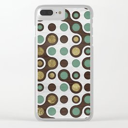 Geometric Pattern - Teal, Wood and Golden Texture Clear iPhone Case