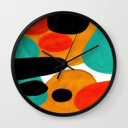 Mid Century Modern Abstract Minimalist Retro Vintage Style Rolie Polie Olie Bubbles Teal Orange Wall Clock