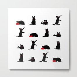 Cats Black on White Metal Print