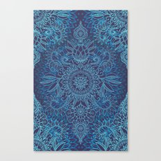 Aqua, Cobalt Blue & Purple Protea Doodle Pattern Canvas Print