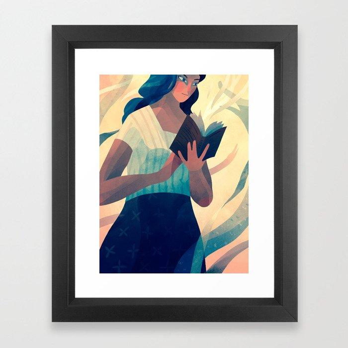 Reading a Book Framed Art Print