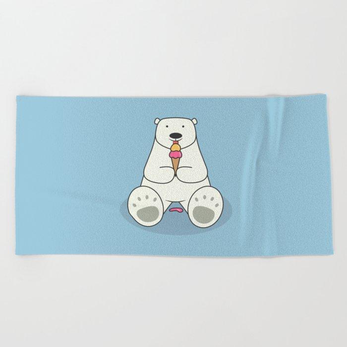 Ice Cream Lover Bear Beach Towel