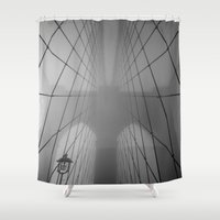 brooklyn bridge Shower Curtains featuring Brooklyn Bridge by Gold Street Photography