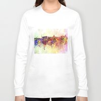 dublin Long Sleeve T-shirts featuring Dublin skyline in watercolor background by Paulrommer