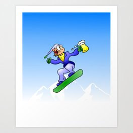 Snowboarding with a beer Art Print