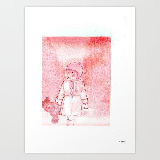 Shelsea and his teddy bear Valentin  Art Print