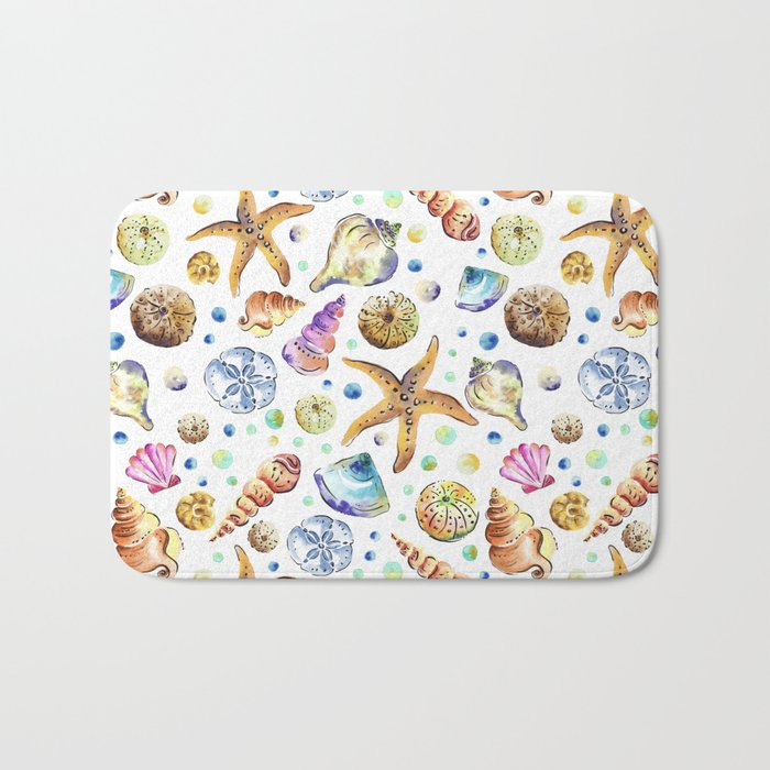 Starfish shell carnival Bath Mat