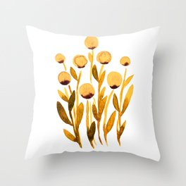 Simple watercolor flowers - orange and brown Throw Pillow