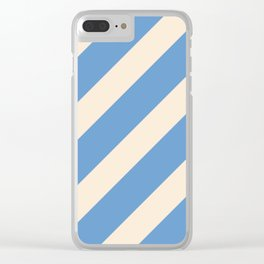 Antique White and Blue Grey Diagonal Stripes Clear iPhone Case