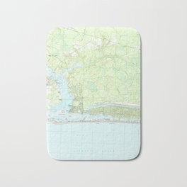 Oak Island North Carolina Map (1990) Bath Mat