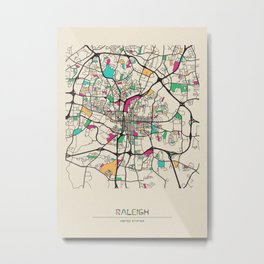 Colorful City Maps: Raleigh, North Carolina Metal Print