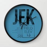 jfk Wall Clocks featuring JFK II by 08 Left
