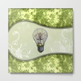 Light bulb with fantasy girl on a swing Metal Print