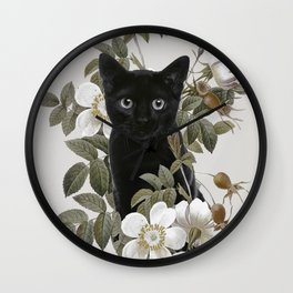Cat With Flowers Wall Clock