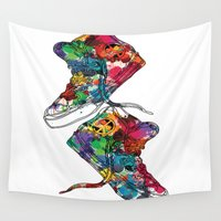 sneakers Wall Tapestries featuring Paint sneakers by Cindys