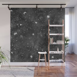Watercolor galaxy - black and white Wall Mural
