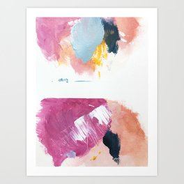 Cotton Candy: a bright, colorful abstract in pinks, blues, yellow, and white Art Print