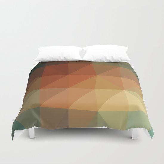 Shades of Green and Browns Triangle Abstract Duvet Cover