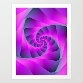 Pink and Blue Spiral Art Print