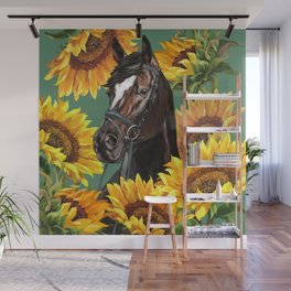 Horse with Sunflowers Wall Mural