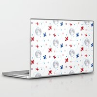 airplanes Laptop & iPad Skins featuring Little Toy Airplanes on White by Art Tree Designs