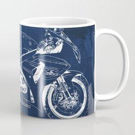 23-2013 Suzuki GSX-R1000 BLUE, Motorcycle blueprint Coffee Mug