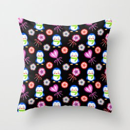 Funny happy smiling baby penguins and sweet vintage retro lollipops. Cute nursery pattern design Throw Pillow