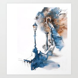 Watercolor painting. Budapest. Art Print