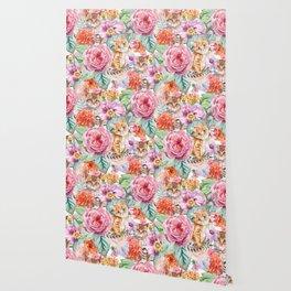 Kittens in flowers Wallpaper