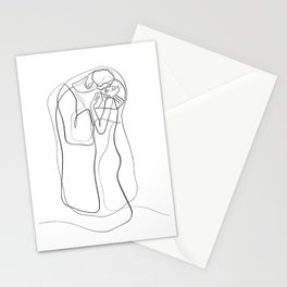 The Kiss by Gustav Klimt - minimal one line drawing Stationery Cards