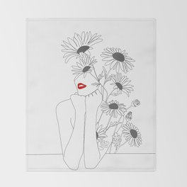 Minimal Line Art Girl with Sunflowers Throw Blanket