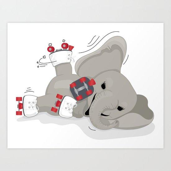 Elephant on skates Art Print